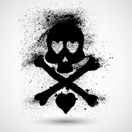 graffiti background: Hand-drawn skull doodle. Vector illustration.