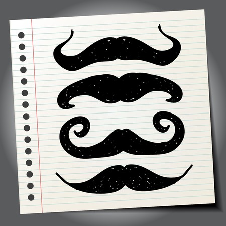 set of men hair styling: Mustache. Doodle style