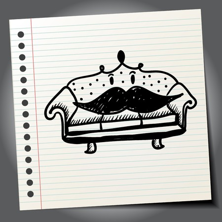 mustaches: Antique doodle sofa with mustaches