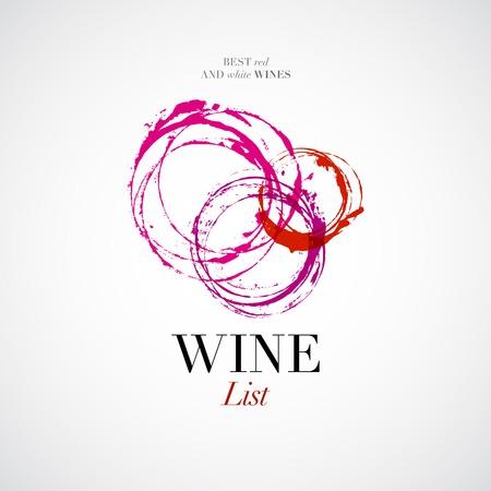 vino: Vector carta de vinos con el icono de la mancha