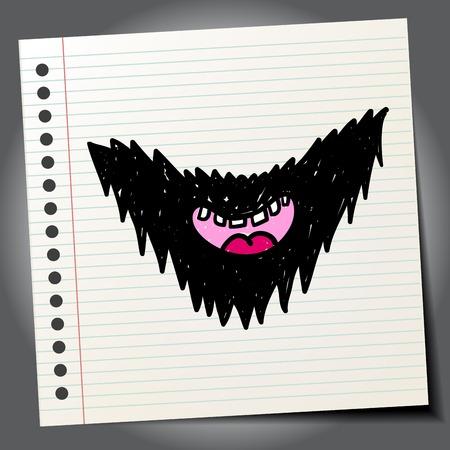 Doodle style beard sketch in vector format