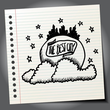 skylines: City skylines in doodle style Illustration
