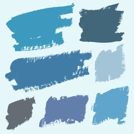 Vector set of grunge colorful brush strokes Çizim