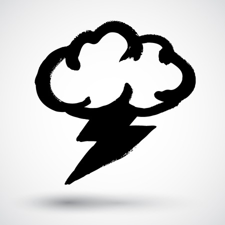 storm cloud: Grunge storm cloud with lightning Illustration