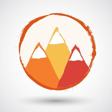 Abstract high mountains icon Vector