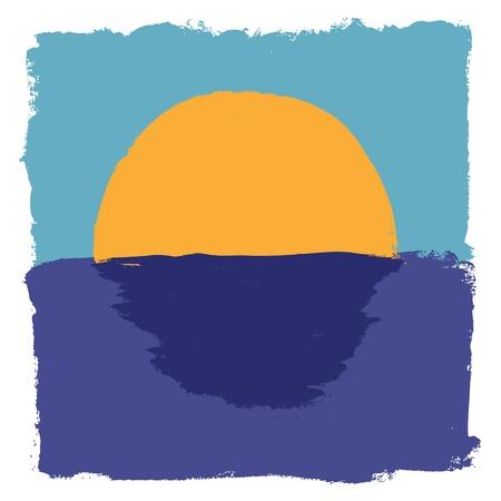 rising sun: Grunge fondo abstracto con el sol naciente Vectores