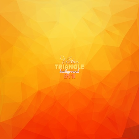 orange background: Hipster background made of triangles. Retro label design. Square composition with geometric shapes, color flow effect.