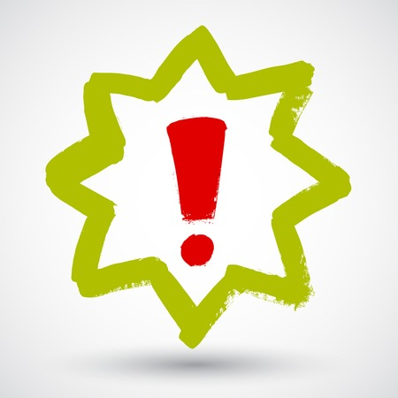 Red vector hand-painted exclamation  warning  danger triangle traffic sign  icon Vector