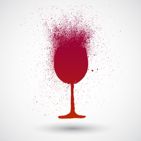 Vector ink and watercolor wine glass sketch Vettoriali