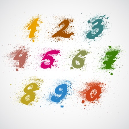 Set of grunge numbers. Vector illustration. Vector