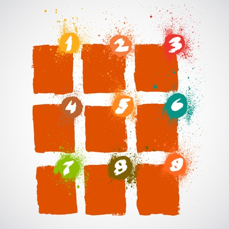 Set of grunge squares with numbers. Vector illustration. Vector