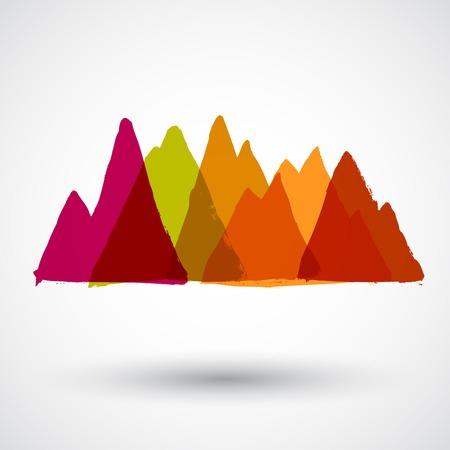 mountain peak: Mountain peak. Grunge style
