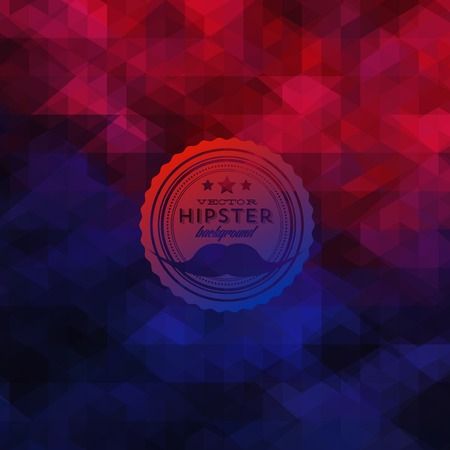mustaches: Hipster background made of triangles. Retro label design. Square composition with geometric shapes, color flow effect. Hipster theme label with mustaches