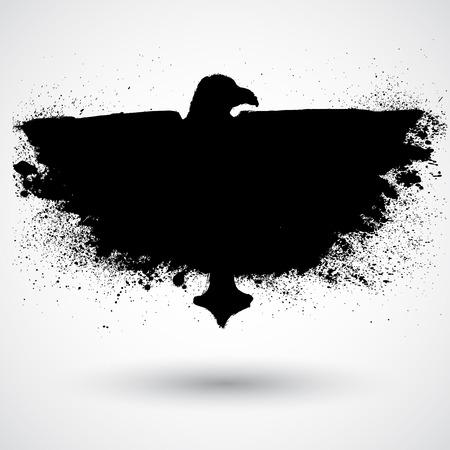An image of a grunge black bird Vector