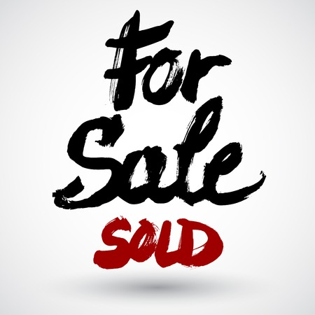 neighbourhood: For sale and Sold grunge calligraphy signs, vector illustration