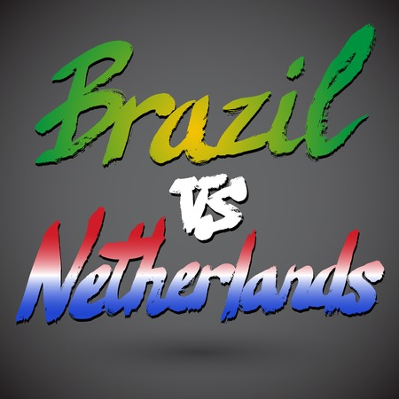 country flags: Brazil VS Netherlands football concept. Grunge hand-drawn signs with country flags