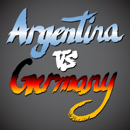 country flags: Argentina VS Germany football concept. Grunge hand-drawn vector signs with country flags