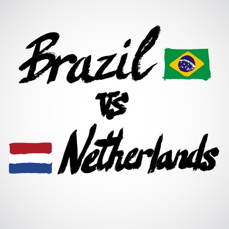 country flags: Brazil VS Netherlands football concept. Grunge hand-drawn vector signs with country flags Illustration