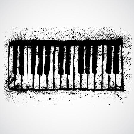 attrition: Grunge black and white piano keys Illustration