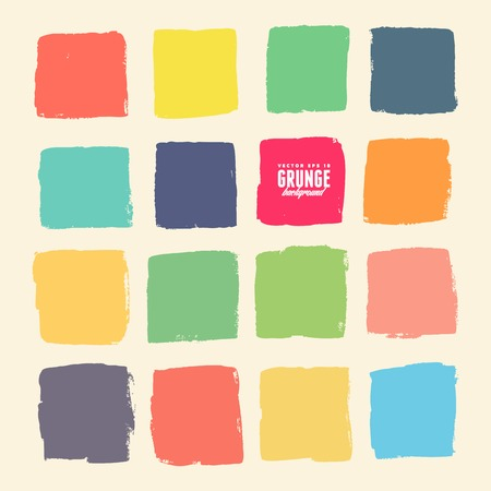 Grunge ink hand-drawn colorful squares Vectores