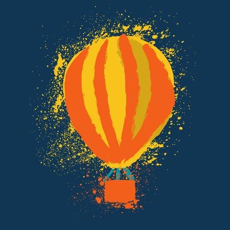 blimp: Hot Air Balloon. Cute Hand Drawn Vector illustration.