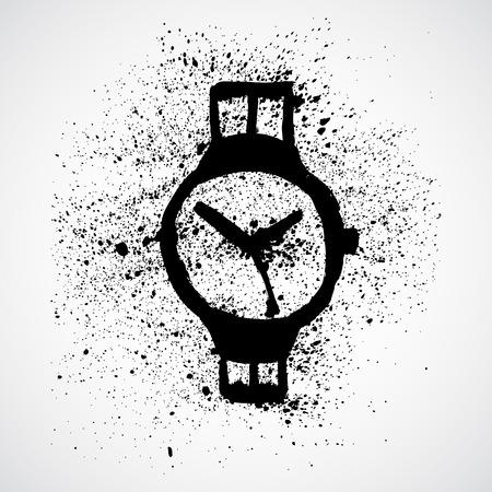 Wristwatch grunge sketch Vector