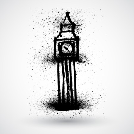 houses of parliament   london: Grunge Big Ben, London, England Illustration