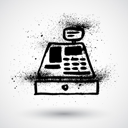 retail display: Grunge cash register icon
