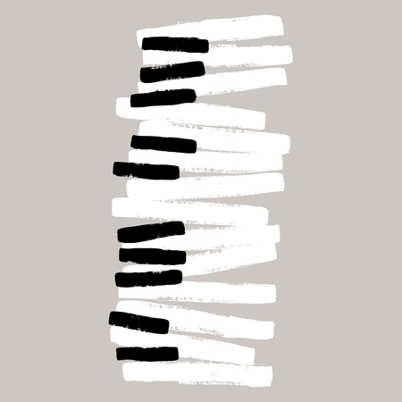 Grunge black and white piano keys 일러스트