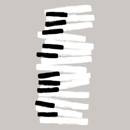 fortepian: Grunge czarno-białe klawisze fortepianu Ilustracja