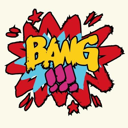 bang: Cartoon Bang, old-fashioned. Vector illustration.