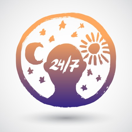 24 hours: 24 hours sign. Sun and Moon grunge vector