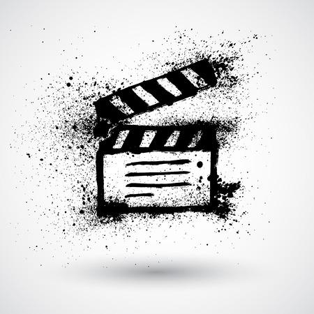 movie clapper: Movie clapper grunge icon