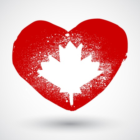 Grunge Canada symbol with heart love sign Vector