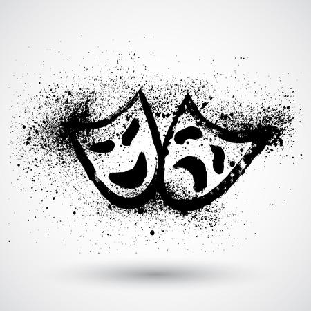 Máscaras teatrales Grunge Ilustración de vector