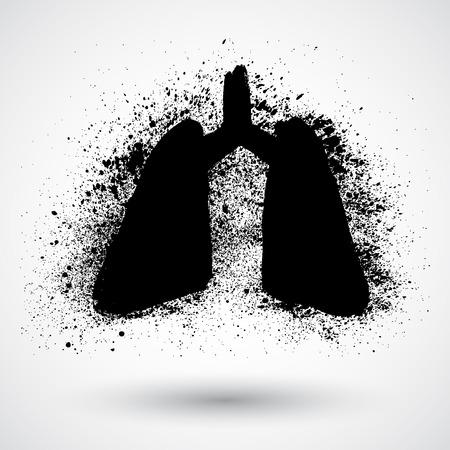 bronchial asthma: Lungs symbol - vector grunge illustration