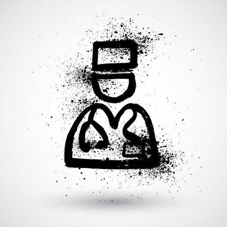 physiotherapist: Doctor grunge icon Illustration