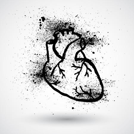 corazon en la mano: Corazón humano. Estilo grunge