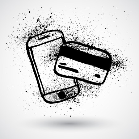 phone card: Grunge phone with credit card on a white background.