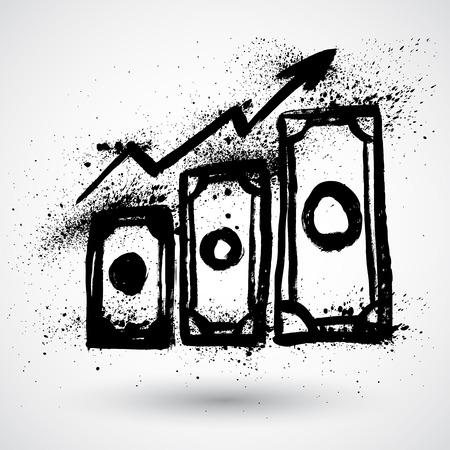 ganancias: Signo Ganancias, aislado, grunge, creciendo concepto de negocio.