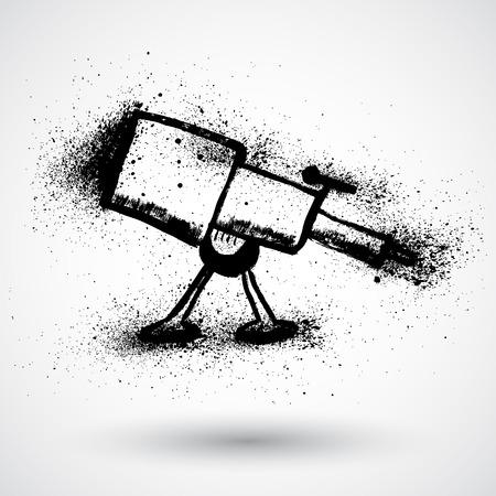 eyepiece: Telescope in tripod. Grunge style