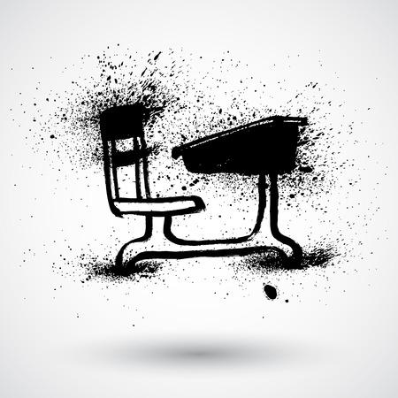school desk: Grunge student school desk over white background. Illustration