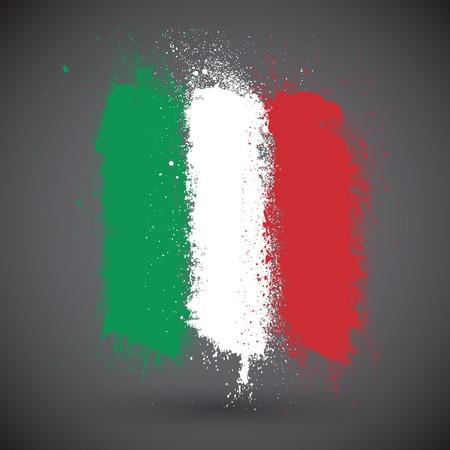 bandera italiana: Pincelada bandera de Italia Vectores