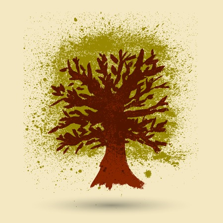 grunge tree: Hand Drawn Watercolor Grunge Tree Illustration