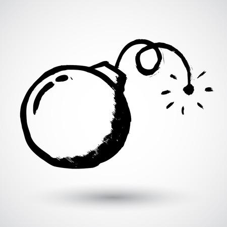nuke: Illustration of grunge style bomb Illustration