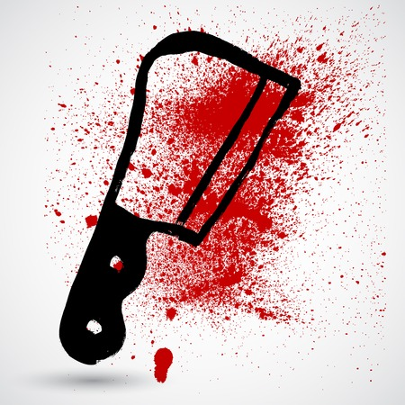 bloodstains: Isolated grunge knife with a splatter of red blood stains Illustration