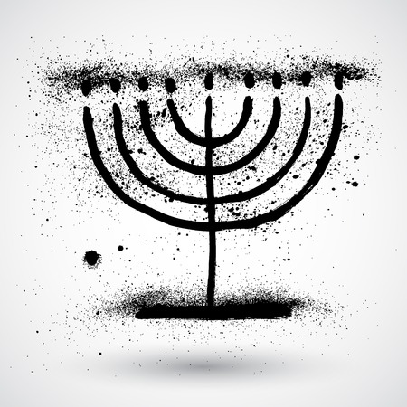 hannukah: Hanukkah menorah. Grunge style