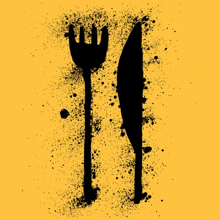 mid century: Grunge knife and fork for restaurant menu Illustration