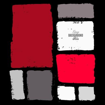 Grunge ink hand-drawn colorful squares Illustration