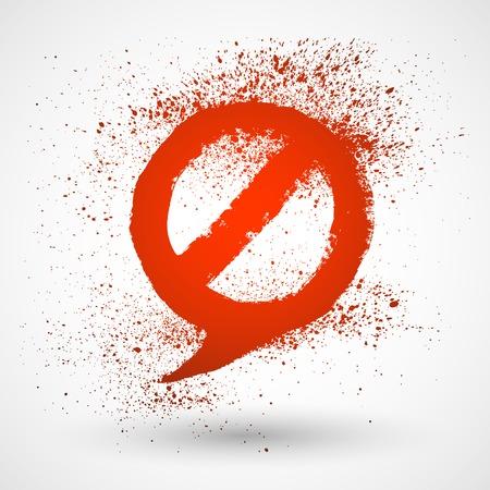 not allowed: Not Allowed Speech Bubble Sign. Grunge hand drawn symbol